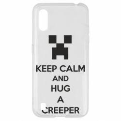 Чехол для Samsung A01/M01 KEEP CALM and HUG A CREEPER