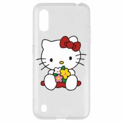 Чехол для Samsung A01/M01 Kitty с букетиком