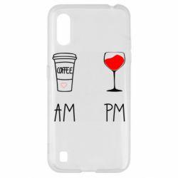Чохол для Samsung A01/M01 Кофе и бокал с вином