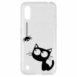 Чехол для Samsung A01/M01 Котик и паук