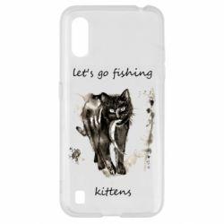 Чехол для Samsung A01/M01 Let's go fishing  kittens