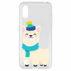 Чехол для Samsung A01/M01 Llama in a blue hat