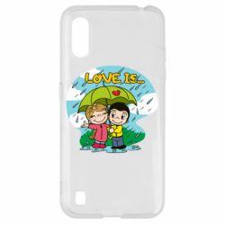 Чохол для Samsung A01/M01 Love is ... in the rain