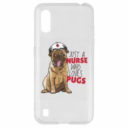 Чехол для Samsung A01/M01 Nurse loves pugs