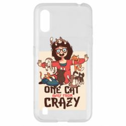 Чехол для Samsung A01/M01 One cat away from crazy