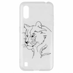 Чехол для Samsung A01/M01 Outline drawing of a lion