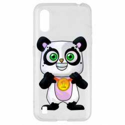 Чехол для Samsung A01/M01 Panda with a medal on his chest