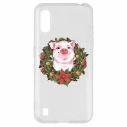 Чохол для Samsung A01/M01 Pig with a Christmas wreath