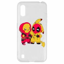 Чехол для Samsung A01/M01 Pikachu and deadpool