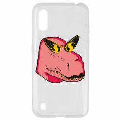 Чохол для Samsung A01/M01 Pink dinosaur with glasses head