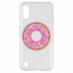 Чохол для Samsung A01/M01 Pink donut on a background of patterns