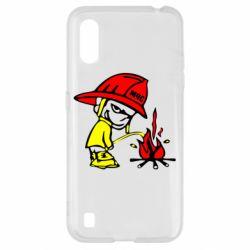 Чехол для Samsung A01/M01 Писающий хулиган-пожарный