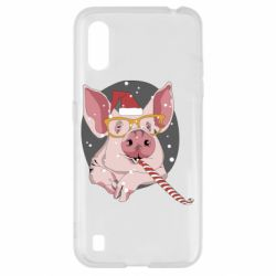 Чохол для Samsung A01/M01 Portrait of the pink Pig in a red Santa's cap