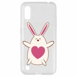 Чехол для Samsung A01/M01 Rabbit with a pink heart