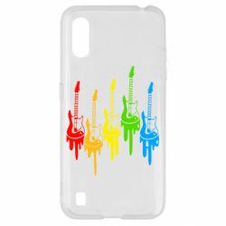 Чехол для Samsung A01/M01 Разноцветные гитары
