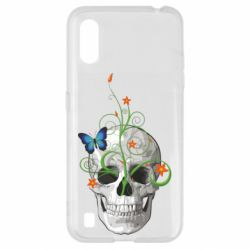 Чехол для Samsung A01/M01 Skull and green flower