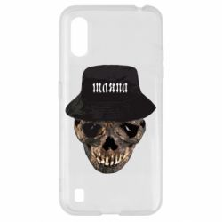 Чехол для Samsung A01/M01 Skull in hat and text
