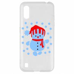 Чехол для Samsung A01/M01 Снеговик в шапке