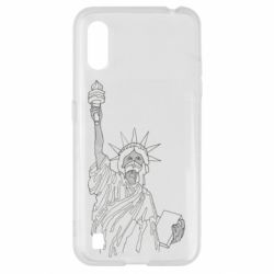 Чохол для Samsung A01/M01 Statue of Liberty with a medical mask