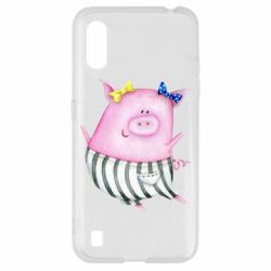 Чехол для Samsung A01/M01 Watercolor Pig with paper texture