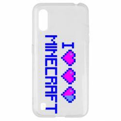 Чехол для Samsung A01/M01 Я люблю Minecraft