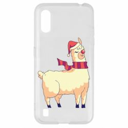 Чехол для Samsung A01/M01 Yellow llama in a scarf and red nose