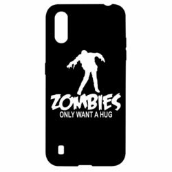 Чехол для Samsung A01/M01 Zombies only want a hug