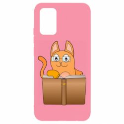 Чохол для Samsung A02s/M02s Cat in glasses with a book
