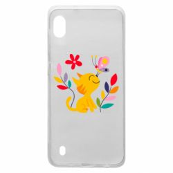 Чехол для Samsung A10 Cat, Flowers and Butterfly