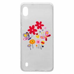 Чехол для Samsung A10 Flowers and Butterflies