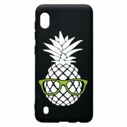 Чехол для Samsung A10 Pineapple with glasses