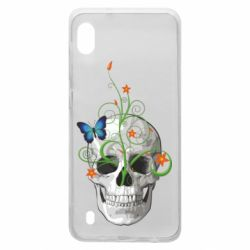 Чехол для Samsung A10 Skull and green flower