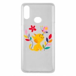 Чехол для Samsung A10s Cat, Flowers and Butterfly