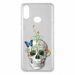 Чехол для Samsung A10s Skull and green flower