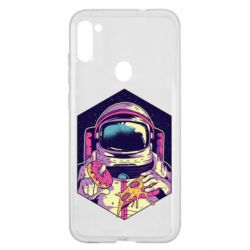 Чехол для Samsung A11/M11 Astronaut with donut and pizza