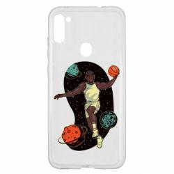 Чехол для Samsung A11/M11 Basketball player and space