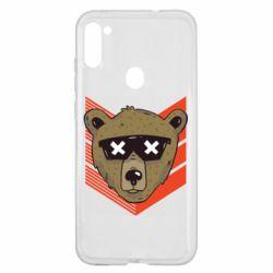Чехол для Samsung A11/M11 Bear with glasses