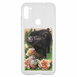 Чехол для Samsung A11/M11 Black pig and flowers