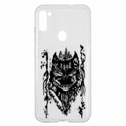 Чехол для Samsung A11/M11 Black wolf with patterns