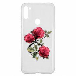 Чехол для Samsung A11/M11 Буква Е с розами