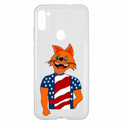 Чехол для Samsung A11/M11 Cat in American Flag T-shirt