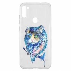 Чехол для Samsung A11/M11 Cat in blue shades of watercolor