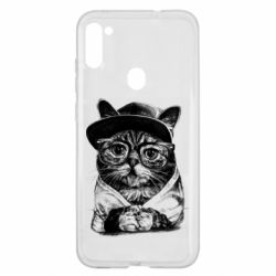 Чохол для Samsung A11/M11 Cat in glasses and a cap