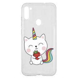 Чохол для Samsung A11/M11 Cat unicorn and strawberries