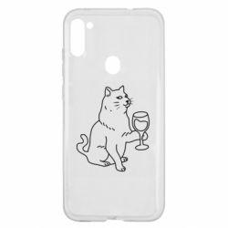 Чохол для Samsung A11/M11 Cat with a glass of wine