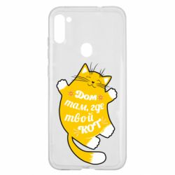 Чехол для Samsung A11/M11 Cat with a quote on the stomach