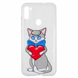 Чехол для Samsung A11/M11 Cute kitten with a heart in its paws