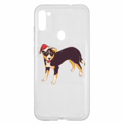 Чехол для Samsung A11/M11 Dog in christmas hat
