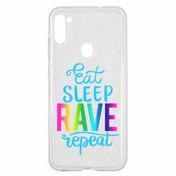 Чохол для Samsung A11/M11 Eat, sleep, RAVE, repeat