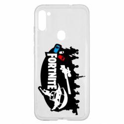Чехол для Samsung A11/M11 Fortnite logo and heroes